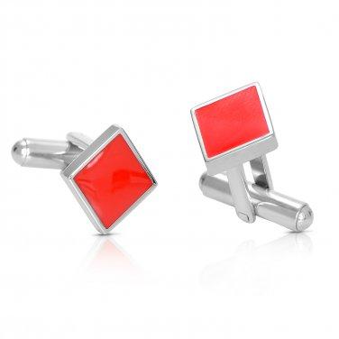 Poker Titanium Steel Silver Plated Diamonds Mens Cufflinks +GIFT (POKERCUFFLINKS)