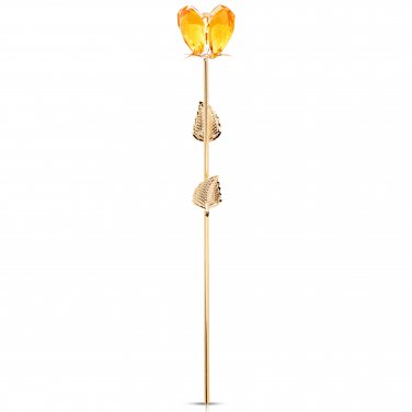 24K Yellow Gold Plated Crystal Rose Flower + Pink Forever Love Box + Free GIFTS (GLDCRYROS-9-YELLOW)