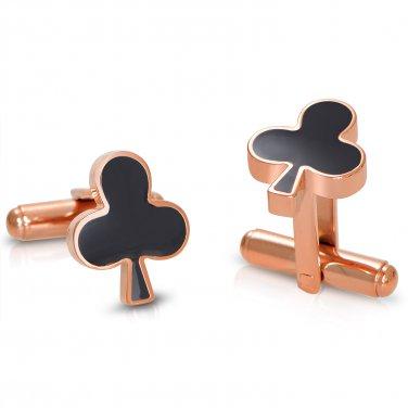Poker Titanium Steel Rose Gold Plated Clubs Mens Cufflinks (POKERCUFFLINKS-ROSE)