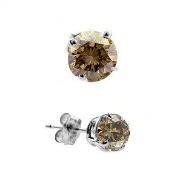 0.10 ct Chocolate Brown Diamond Solitaire Single Stud Earring 14K White Gold (SE1243-010WBR)