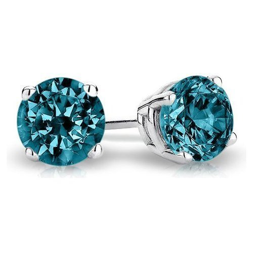 0.95 ct Blue Diamond Round Solitaire Basket Stud Earrings 14K White Gold (E1243-095WBL)