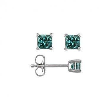 0.75 ct Blue Diamond Princess Solitaire 14K White Gold Basket Stud Earrings (E1243-PC-075WBL)