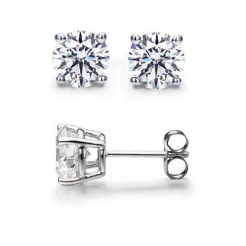 0.75 ct Round Diamond Basket Solitaire 14k White Gold Stud Earrings Set (R075W)