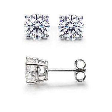 0.80 ct Round Diamond Basket Solitaire 14k White Gold Stud Earrings Set (R080W)