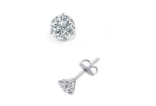 0.30 ct Round Diamond Solitaire Martini Single Stud Earring 14K White Gold (SR030W)