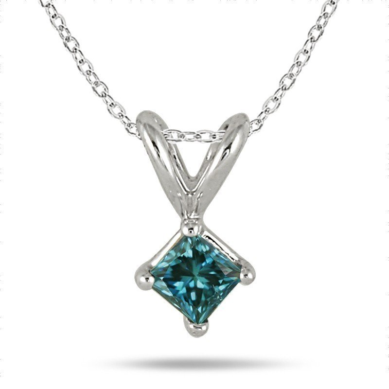 0.30 ct Blue I1 Princess Diamond Solitaire 14K White Gold Pendant Set + GIFT (K1243-PC-030WBL)