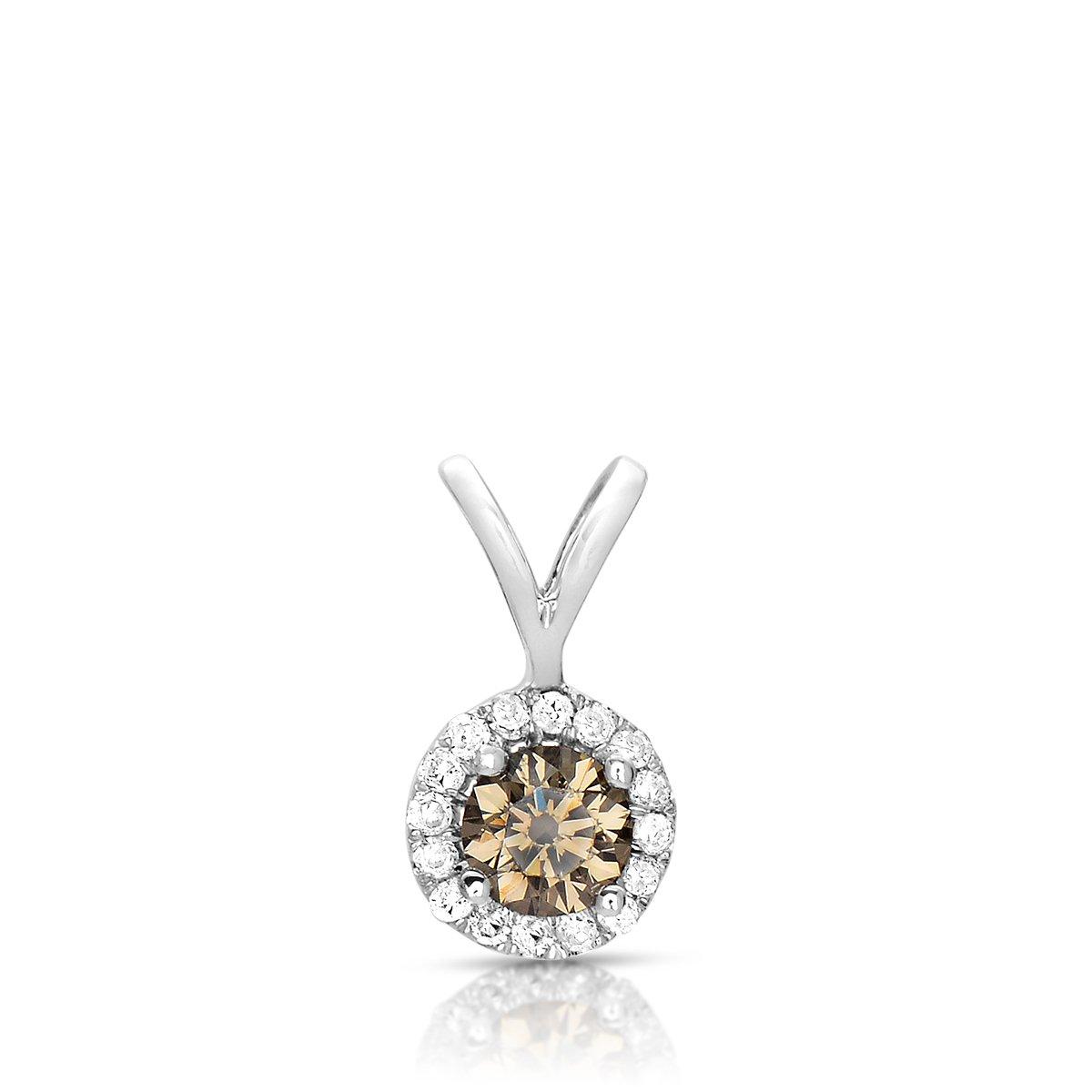0.50 ct Chocolate Brown Diamond Halo 14k White Gold Pendant Necklace Set (K1295-050WBR)