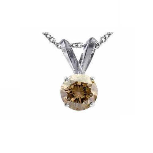 0.30 ct Chocolate Brown Round Diamond Solitaire 14K White Gold Pendant Set + GIFT (K1243-RD-030WBR)