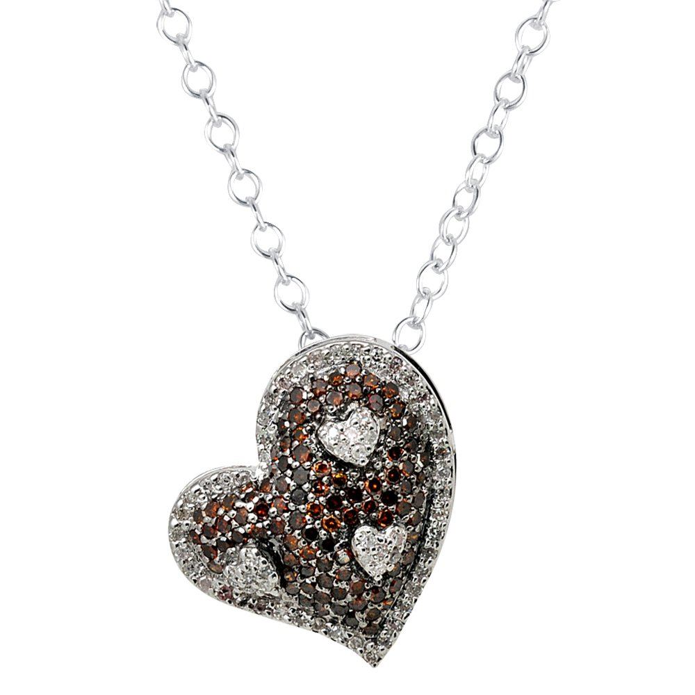 0.50 ct Red Round Diamond Cluster Heart Pendant & Necklace Set 10K White Gold (K1249-050WRD-10KT)