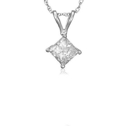 0.35 ct Princess Diamond Basket Solitaire 14k White Gold Pendant + Necklace Set (KP035W)