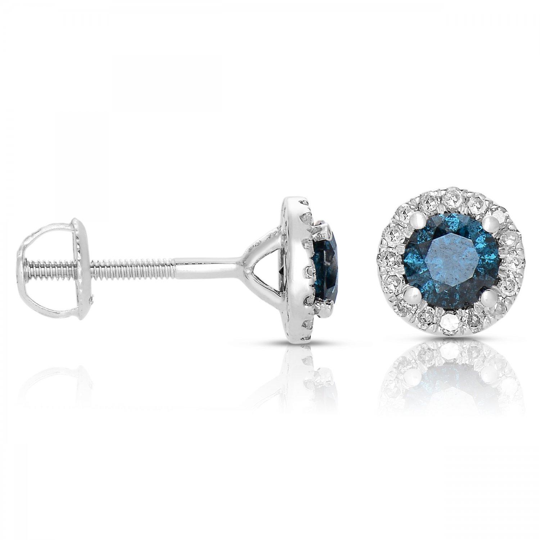 2 ct Blue Round Diamond Halo Cluster Stud Earrings Set 14k White Gold (E1295-200WBL)