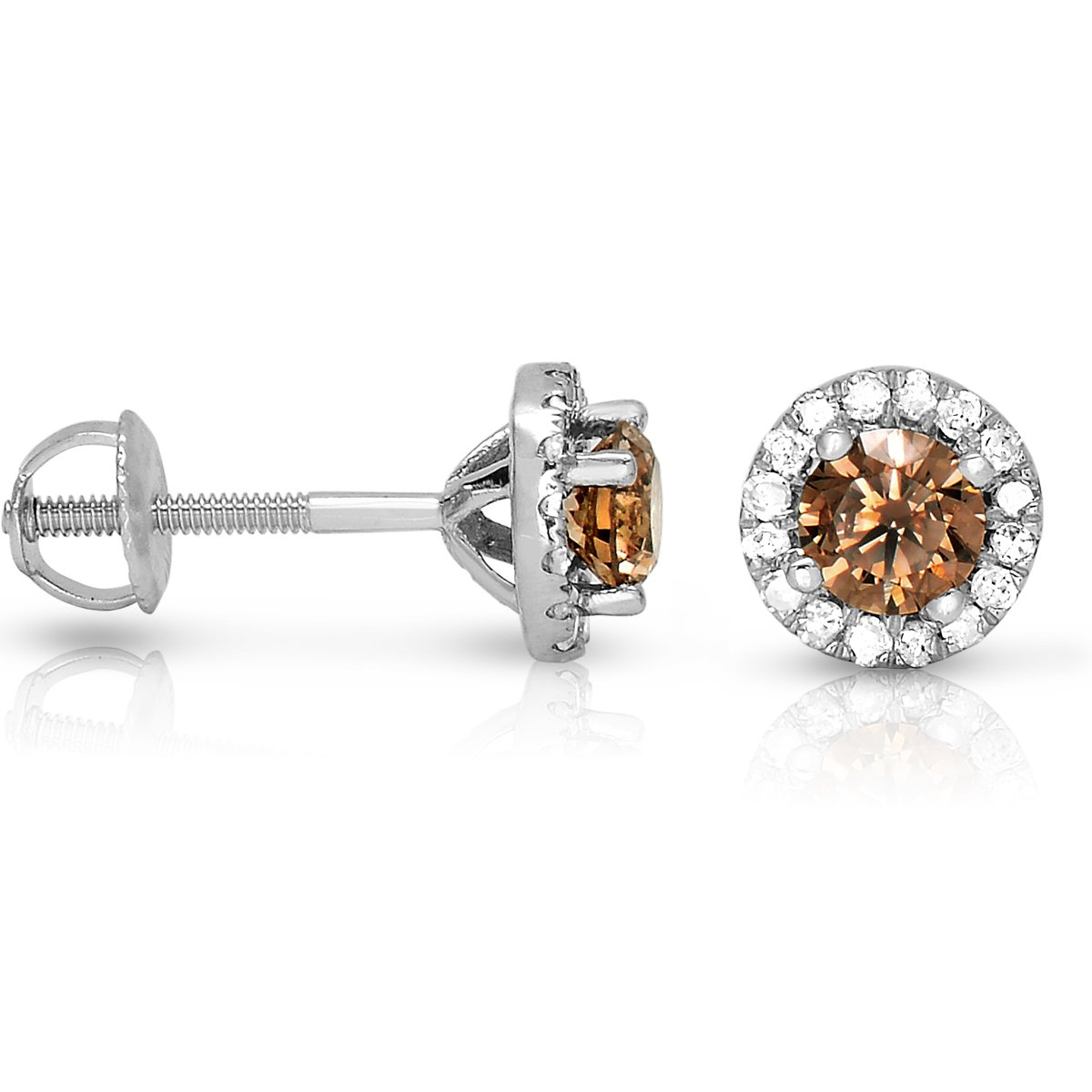 1 ct Chocolate Brown Round Diamond Halo Cluster Stud Earrings 14k White Gold (E1295-100WBR)