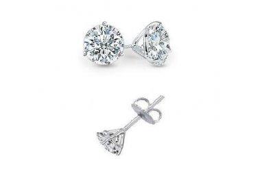0.65 ct Round Diamond Martini Solitaire 14k White Gold Stud Earrings Set (R065W)