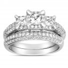1.50ct Princess Diamond Three Stone Engagement Ring Set 14k White Gold Certified (EW3501-150W)