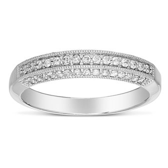 0.25 ct Round Diamond Antique Anniversary Bridal Wedding Band 14k White Gold (X12R1205R049)