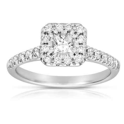 0.50ct Princess Diamond Halo Cluster Bridal Engagement Ring 14k White Gold (ER1375-PC-050W)