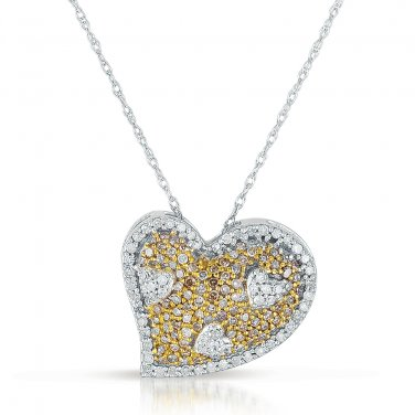 0.50 ct Brown Round Diamond Cluster Heart Pendant & Necklace Set 10K White Gold (K1249-050WBR-10KT)