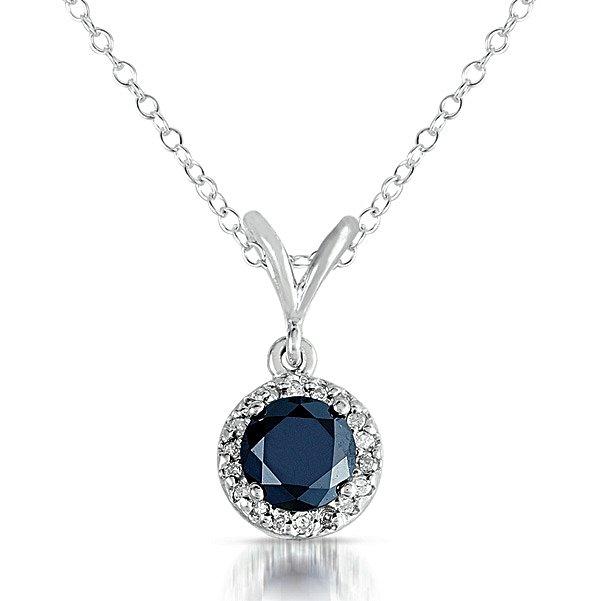 0.25 ct Black Diamond Solitaire Halo 14k White Gold Pendant & Necklace Set (K1295-025WB)