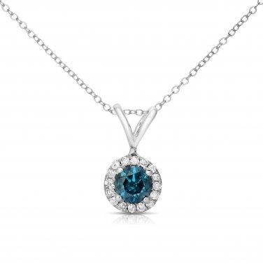 0.25 ct Round Blue Diamond Halo 14k White Gold Pendant Necklace Set (K1295-025WBL)