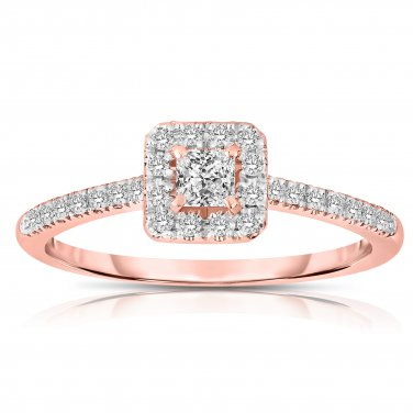 0.50 ct Princess Diamond Halo Bridal Engagement Ring 14k Rose Gold SALE (ER1375-PC-050RG-PROMO)
