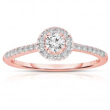 0.50 ct Round Diamond Halo Cluster Bridal Engagement Ring 14k Rose Gold SALE (ER1375-RD-050RG-PROMO)