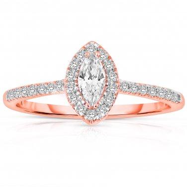 0.50 ct Marquise Diamond Halo Bridal Engagement Ring 14k Rose Gold SALE (ER1375-MQ-050RG-PROMO)