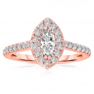 1 ct Marquise Diamond Halo Cluster Bridal Engagement Ring 14k Rose Gold SALE (ER1375-MQ-100RG-PROMO)