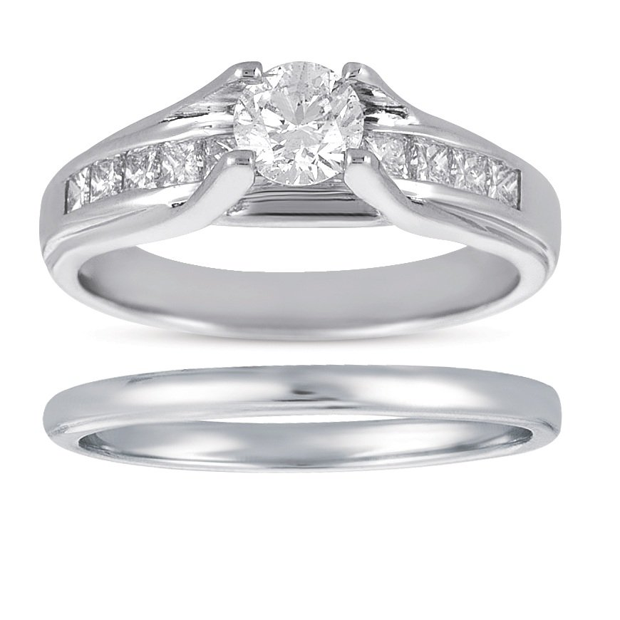 0.75 ct Princess & Round Diamond Bridal Ring Wedding Band Set 14k White Gold (BR1018-RD-075W)