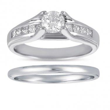 0.75 ct Princess & Round Diamond Bridal Ring Wedding Band Set 14k White Gold (BR1018-RD-075W)