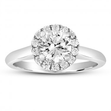 0.75 ct Round Halo Cluster Diamond Bridal Wedding Engagement Ring 14k White Gold (ER1356-RD-075W)