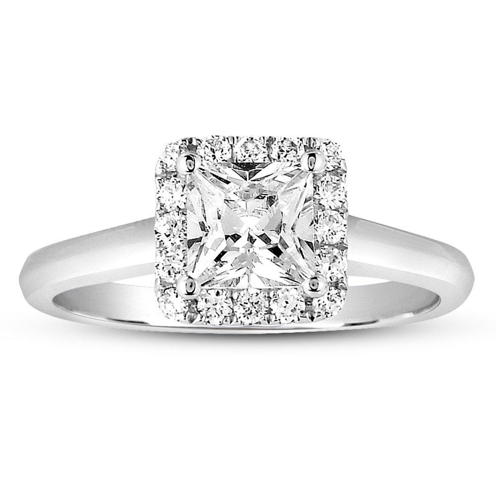 1 ct Princess & Round Halo Cluster Diamond Bridal Engagement Ring 14k White Gold (ER1356-PC-100W)