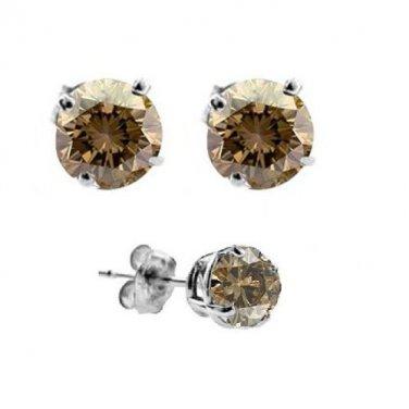 1 ct Chocolate Brown Diamond Solitaire Basket Stud Earrings 14K White Gold (E1243-100WBR-PROMO)
