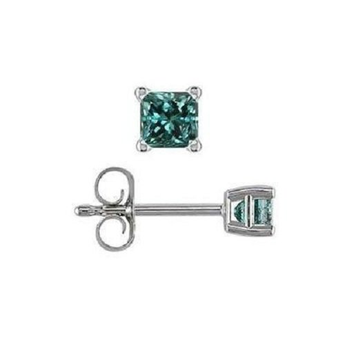 0.12 ct Blue Diamond Princess Solitaire 14K White Gold Single Stud Earring (SE1243-PC-012WBL)
