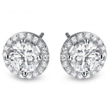 1 ct Round Diamond Halo Cluster Elegant Stud Earrings Set 14k White Gold (E1295-100W)