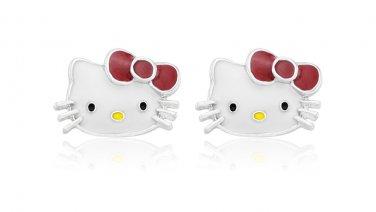 Hello Kitty Sterling Silver Plated Fashion Girls Stud Earrings Set Enamel Finish (KITTYEARR)