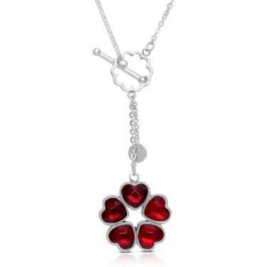 Crystal Heart Leaf Clover Pendant & Interlocking Necklace Sterling Silver Plated (CLREDNECK)