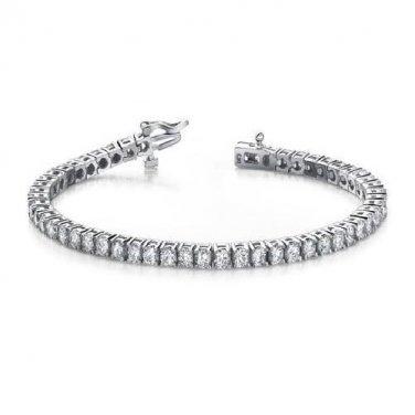 3 ct Round Diamond Basket Prong Eternity Tennis Bracelet Box Clasp 14k White Gold (B1009-300W)