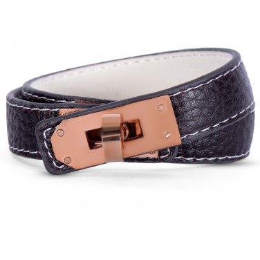 Designer Inspired Rose Gold Plated Faux Leather Wrap Around Wristband Bracelet (BANGLE-10)