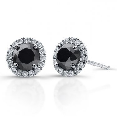 0.50 ct Black Round Diamond Halo Cluster Stud Earrings Set 14k White Gold (E1295-100WB)