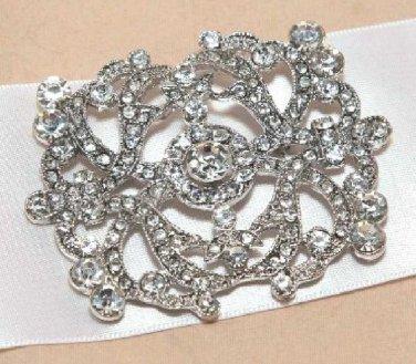 Victorian Dress Style Glass Crystal Rhinestone Wedding Bridal Belt Brooch Pin