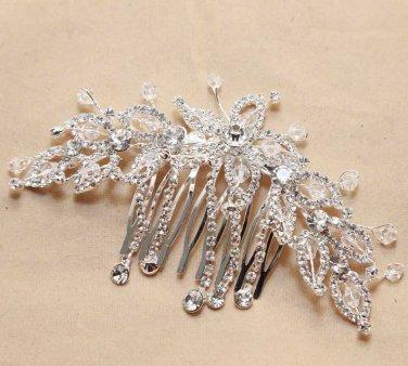 Art Deco Style Bridal Wedding Bride Rhinestone Crystal Silver Hair Comb