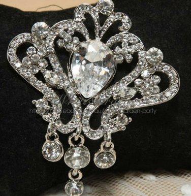 Rhinestone Crystal Wedding Dress Cake Decoration Pendant Dangle Brooch Pin