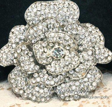 "Large Crystal Rhinestone Bridal Rose Flower Wedding Cake Silver Brooch Pin 3"""