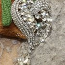 Dangle Heart Teardrop Crystal Rhinestone Bridal Wedding Hair Brooch Pin