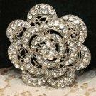 Crystal Rhinestone Bridal Wedding Lace Rose Cake Jewelry Belt Buckle Brooch Pin