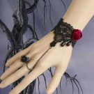 BLACK Lace Red Rose Gothic Bracelet Goth Victorian Lolita Steampunk Rococo