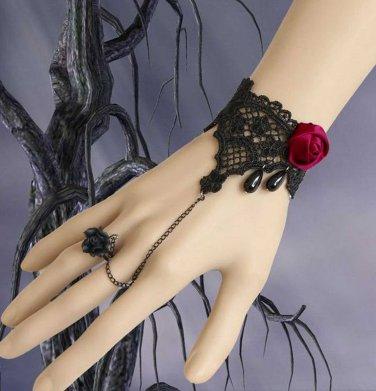 BLACK Lace Red Rose Gothic Bracelet Goth Victorian Lolita Steampunk Rococo