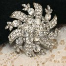 Crystal Silver Plated Alloy Rhinestone Bridal Wedding Brooch Pin