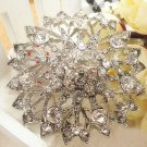 Clear Rhinestone Crystals Bridal Wedding Cake Round Vintage Pendant Brooch Pin