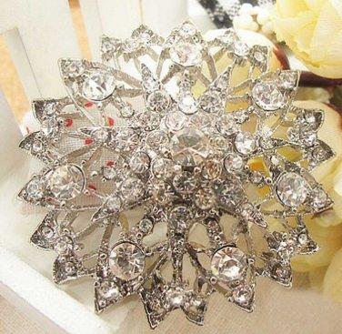 Clear Rhinestone Crystals Bridal Wedding Cake Round Vintage Pendant Brooch Pin